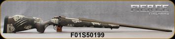 """Fierce - 300PRC - Fury - Carbon Tan & Brown Sponge Pattern w/Tan Claw Custom Carbon Fiber Reinforced stock/Midnight Bronze Cerakote, 24""""Barrel, Titanium Muzzle Brake, 1:9""""Twist, .50 MOA @ 100 yards Guarantee, S/N F01S50199"""
