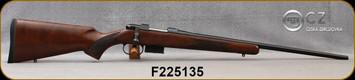 "CZ - 22Hornet - 527 American - Turkish Walnut, American-Style Stock/Blued, 21.9""Barrel, Single Set Trigger, 5rd magazine, Integrated 16mm Scope Bases, Mfg# 5274-0205-UAAKAB5, S/N F225135"