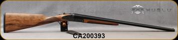 "Huglu - 20Ga/3""/26"" - 200AC - SxS Single Trigger - Grade AA Turkish Walnut English Grip Stock/Case Hardened Receiver w/Gr5 Hand Engraving/Blued Barrels, 5pc. Mobile Choke, SKU# 8681715398297-2, S/N CA200393"