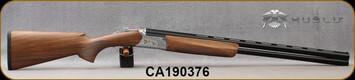 "Huglu - 12Ga/3""/28"" - Ventus SGR9 - O/U - Ejectors - Grade AA+ Turkish Walnut/Silver Hand Engraved low-profile receiver w/Gold inlay laser engraved birds/Chrome-Lined Barrels, 5pc Mobil Choke, SKU# 8681715396408, S/N CA190376"