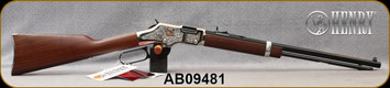 """Henry - 22S/L/LR - American Beauty - Lever Action Rifle - Walnut Stock/Engraved Nickel Receiver/Blued, 20""""Barrel, 16 Round Tubular Magazine, Mfg# H004AB, S/N AB09481"""