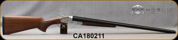 """Huglu - 12Ga/3""""/28"""" - 200AC - SxS - Turkish Walnut/Silver Receiver w/Hand Engraved Gold inlay/Blued Barrel, SKU# 8681715391847, S/N CA180211"""