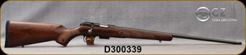 "CZ - 22WMR - Model 457 American - Turkish Walnut - American Style Stock/Blued, 24.8""Threaded 1/2x20 Barrel, Detachable 5rd magazine, Integrated 11mm Dovetail, Mfg# 5084-8882-MAAMAAX, S/N D300339"