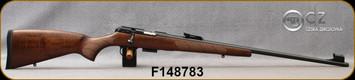 "CZ - 22WMR - Model 457 LUX - Bolt Action Rimfire Rifle - Turkish Walnut European-Style Stock/Blued, 24.8""Threaded(1/2x20) Barrel, Adjustable Iron Sights, Integrated 11mm Dovetail, Mfg# 5084-8882-BADMAAX, S/N F148783"
