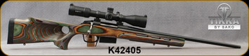 """Consign - Tikka - 243Win - T3 - Boyds Green Laminate Thumbhole Stock/Blued, 22.4""""Barrel, Glass Bedded, Atlas Bottom Metal Conversion, ATI Mag compatible, (2)Magazines, Vortex Strike Eagle, 3-18x44mm, EBR-4 (MOA)Ill.Reticle, Bubble Level - 30rds fired"""