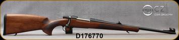 "CZ - 8x57IS - Model 557 Lux - Bolt Action Rifle - Select Turksih Walnut w/cheekpiece/Blued, Cold hammer forged, 20""Barrel, Iron Sights, w/Fiber Optic insert, 5rd fixed magazine, Mfg# 5574-2001-BFTADAX, S/N D176770"