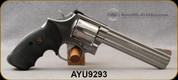 """Used - Smith & Wesson - 357Mag - Model 686-2 - SA/DA - 6rd Revolver - Black Synthetic Grips/Stainless, 6""""Barrel, Red Ramp front sight, Adj.White outline rear sight, c/w spare wood grips - In original box"""