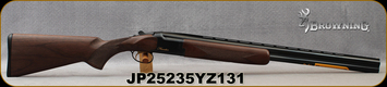 "Browning - 16Ga/2.75""/26"" - Citori Hunter Grade I - O/U - Satin finish Grade I American walnut stock/Gloss Finish Blued Metal w/Gold Enhancement on Receiver, Three flush choke tubes(F, M, IC), Silver Bead Front Sight, Mfg# 018258514, S/N JP25235YZ131"