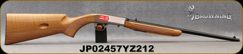 "Browning - 22LR - SA-22 Maple - Semi-Auto Rimfire Rifle - Checkered Gloss-Finish Grade AAA Maple Stock/Satin Nickel Engraved Receiver/Polished Blued, 19 3/8""Light Sporter Barrel, 10rd capacity, Mfg# 021022102, S/N JP02457YZ212"
