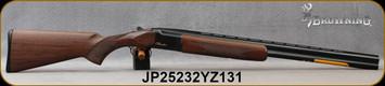 "Browning - 16Ga/2.75""/26"" - Citori Hunter Grade I - O/U - Satin finish Grade I American walnut stock/Gloss Finish Blued Metal w/Gold Enhancement on Receiver, Three flush choke tubes(F, M, IC), Silver Bead Front Sight, Mfg# 018258514, S/N JP25232YZ131"
