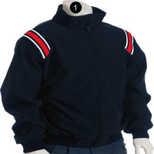 Flece Lined Jacket-Navy with Navy, White and Red Shoulder Insert Trim