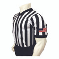 "Smitty Made in USA Mens 1"" Black and White Striped V-Neck Basketball and Wrestling Referee Shirt"