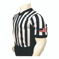 "Smitty Made in USA Mens 1"" Black and White Striped V-Neck Basketball Referee Shirt w/Side Panel"
