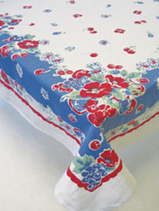 MODA Very Berry Red and Blue Cotton Tablecloth