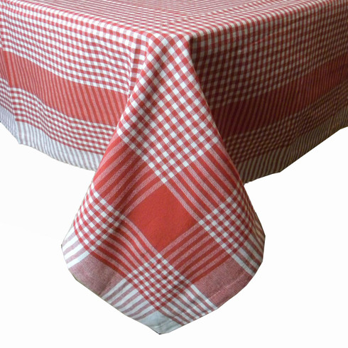 ... RWK Red Gingham Picnic Woven Cotton Tablecloth. Image 1