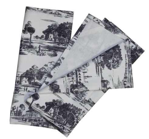 Pair of Black Toile Towels