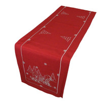 Sebastien & Groome Embroidered Sleigh Red Tablerunner, 16x68 inches Long
