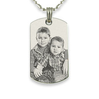Personalized Stainless Steel Photo Dog Tag Pendant