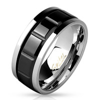 Two Tone Grooved Black IP Center Stainless Steel Spinner Ring
