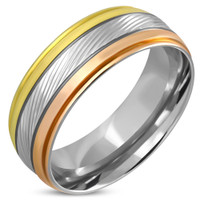 8mm Stainless Steel 3-tone Step Edge Comfort Fit Ring