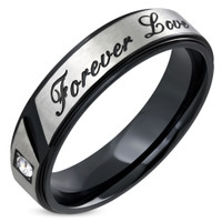 6mm Stainless Steel 2-tone Forever Love Comfort Fit Ring