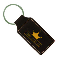 Black Leatherette Rectangle Keychain - Free Engraving