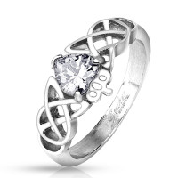 Personalized Stainless Steel Tribal Heart and Crown Ring