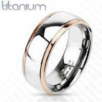 Personalized Solid Titanium Rose Gold Edge Band Ring