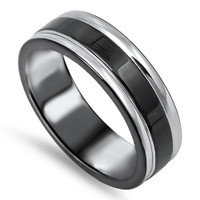 Personalized 6mm Stainless Steel 2-tone Band Ring