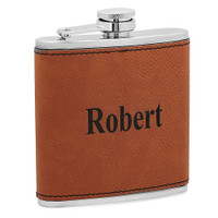 Personalized 6 oz. Dark Brown Leatherette Stainless Steel Flask