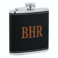Personalized 6 oz. Black Leatherette Stainless Steel Flask