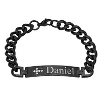 Stainless Steel Black IP ID Bracelet with Cross - Free Engraving