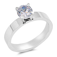 Personalized Stainless Steel Comfort Fit CZ Ring