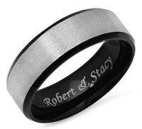 Personalized 8mm Stainless Steel Two Tone Matt Finish Ring