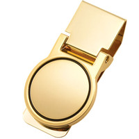 Round Quality Folding Gold Tone Money Clip