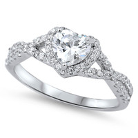Personalized Sterling Silver with Clear Heart CZ Ring