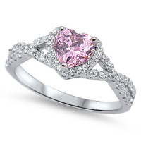 Personalized Sterling Silver with Pink Heart CZ Ring