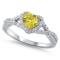 Personalized Sterling Silver with Yellow Clear Heart CZ Ring