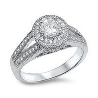 Personalized Sterling Silver Ring with CZ - Free Engraving