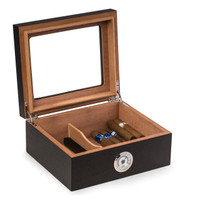 """Espresso"" Wood Cigar Humidor with Spanish Cedar Lining and Glass Lid"