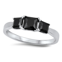 Personalized Sterling Silver Ring with Princess Cut Black CZ