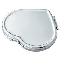 Personalized Heart Compact Magnifying Mirror - Free Engraving