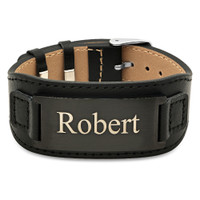 Brushed Black Stainless Steel and PU Leather ID Bracelet