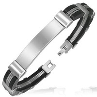 Rubber Bracelet with Stainless Steel 316L