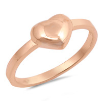Personalized Sterling Silver Rose Gold Plated Heart Ring