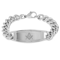 Quality Stainless Steel Bracelet with Masonic Symbol