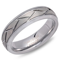 Personalized Tungsten Ring Beveled Edge