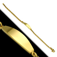 Stainless Steel Gold Color Oval Curb Cuban Link Kids ID Bracelet