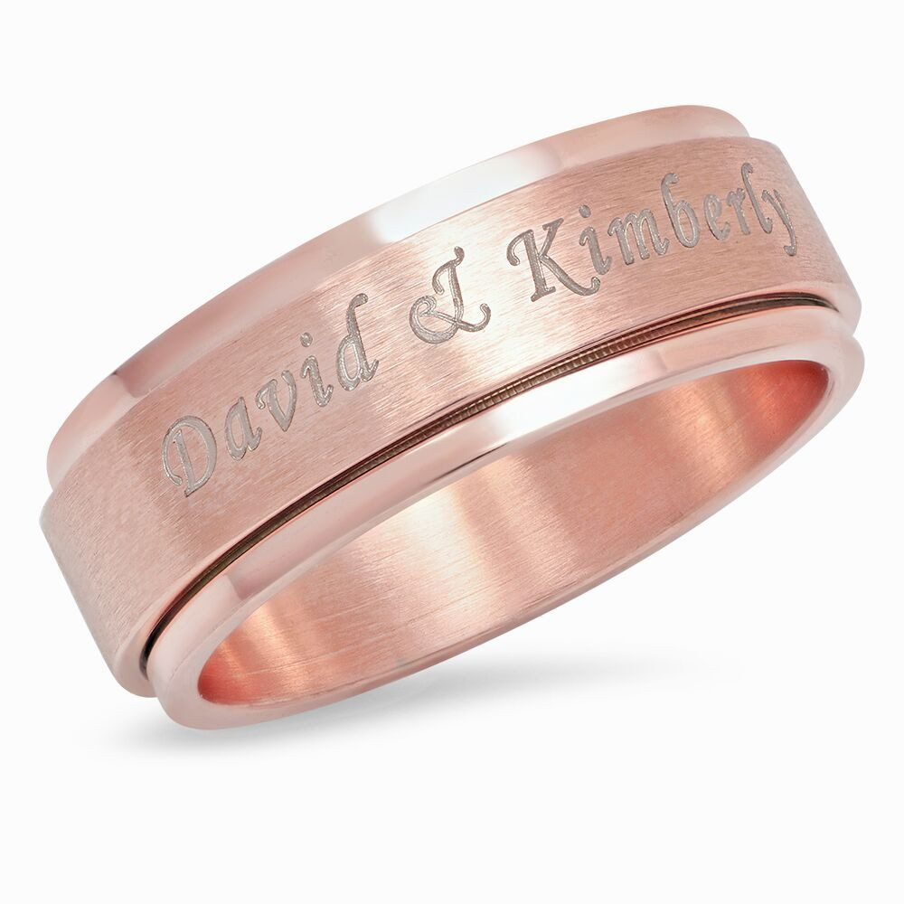 Personalized Rose Gold Plated Stainless Steel Spinner Ring ...