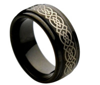 Tungsten Carbide Black Enamel Engraved Celtic Knot Pattern 9mm